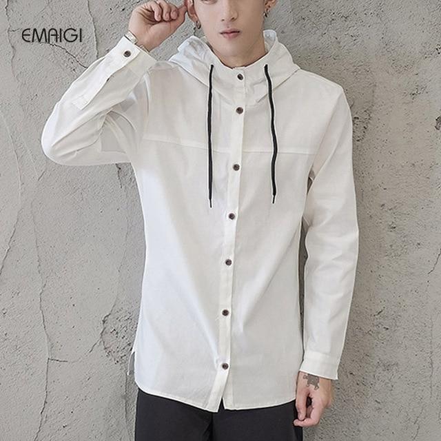 Hommes De Mode À Capuchon Occasionnel Chemise Chine Style Noir Blanc Coton  Lin Mâle Chemise À c8363e8fe415