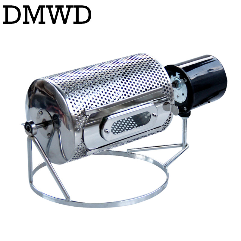 DMWD 110V/220V Coffee Beans Roaster Stainless Steel Cafe Bean Roasting Machine Baking Fry Peanut Grain Nuts Dryer EU US UK Plug image