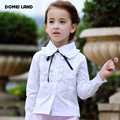 2016 Spring Fashion kids Girls Clothing Cute Lace Long Sleeve collar Ruffle cotton School Blouse bow Tops shirts clothes