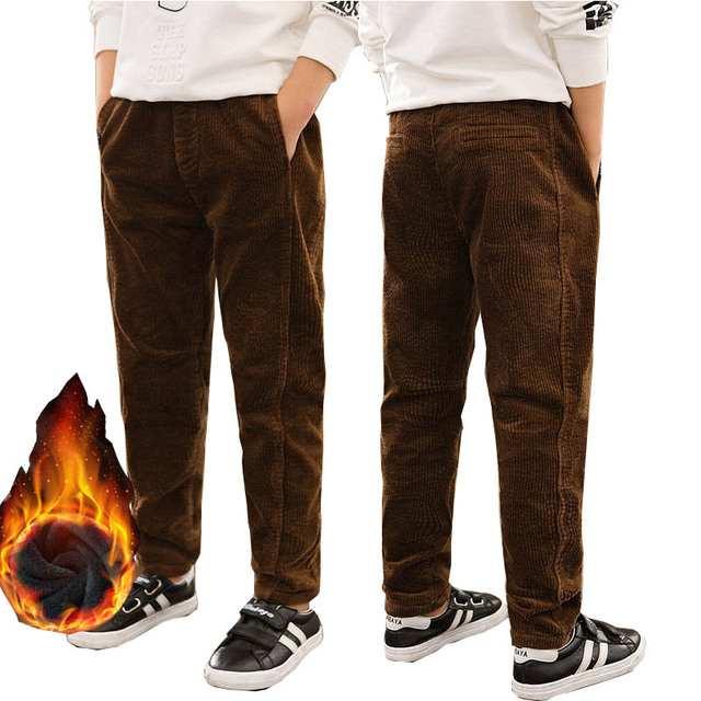67c4a8c9cf US $25.0 |Boys Winter Pants Fleece Thick Elastic Waist Teenage Boys  Corduroy Pants Trousers Denim School Children Pants 12 Y Kids Pantalon-in  Pants ...