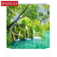 Charming Landscape Green Trees Waterfall Polyester Fabric Waterproof Mildew Printing Bathroom Shower Curtain With 12pc Hook