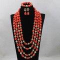 Splendid 4 Capas de Nigeria Coral Perlas Collar de la Joyería de 25 pulgadas de Largo Collar de Coral Joyería Nupcial Conjunto Envío Gratis CNR636