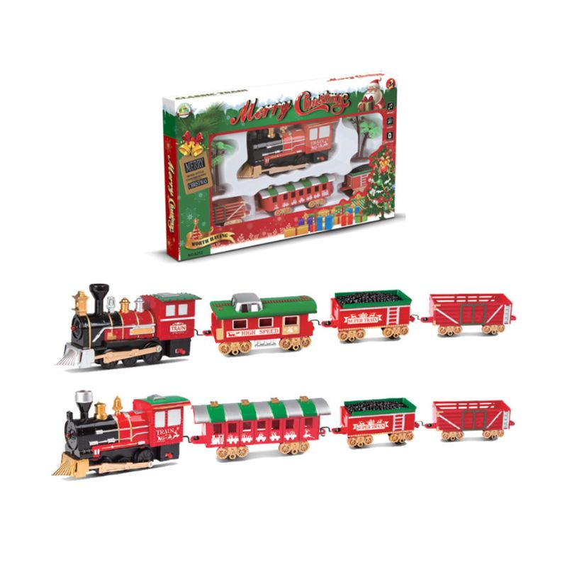 1Set Christmas Electric Track <font><b>Train</b></font> Classic Rail Car Compartment Toys with Light Music Function for Kids Children Gifts image
