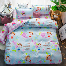 Japanese anime cartoon Bedding Set mixed candy color Strawberry Fruit Duvet Cover Bed sheet Pillowcase Super Sweet Girls
