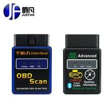 Zawód JUEFAN Wifi bluetooth OBD2 Interfejs Skanera ELM 327 OBD2 Narzędzie Diagnostyczne OBD II Obsługuje Systemu Android IOS PC