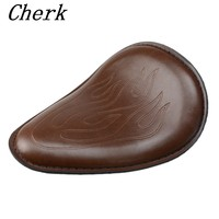 Motorcycle Brown Leather Flame Solo Slim Seat for Harley Sportster XL 883 48 1200 Iron Bobber Chopper Custom Honda Yamaha