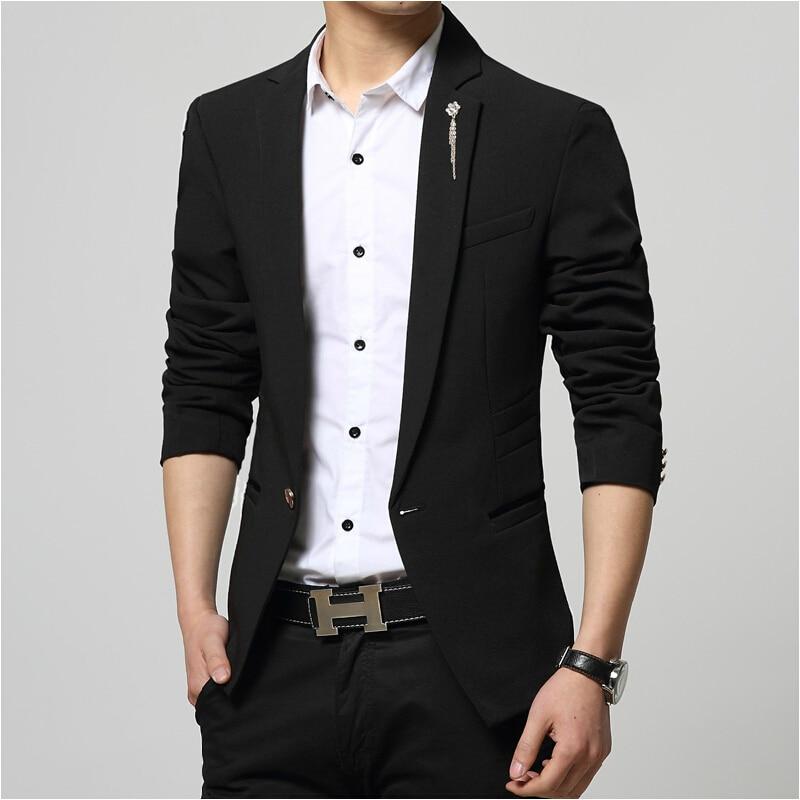 2015 New Arrival Men Suit Jacket Single Button Men Blazer Blue/Black Business Slim Fit Blazer Male Plus Size S-XXXL ...
