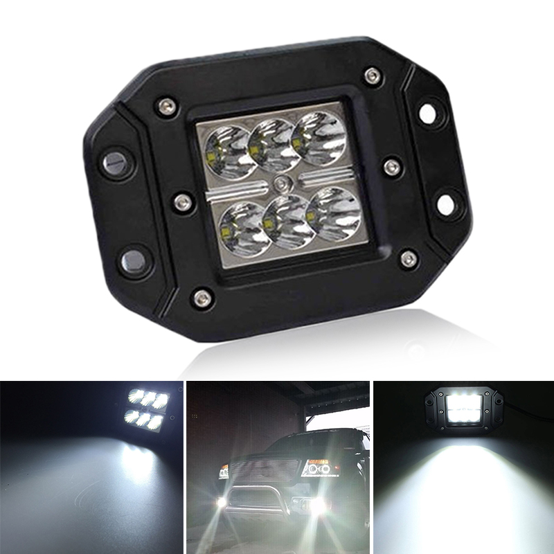 Liplasting 4 Inch 18W LED Work Light Motorcycle Tractor Boat Off Road for Truck SUV ATV Spot Flood Offroad Fog Lamp 12V Light