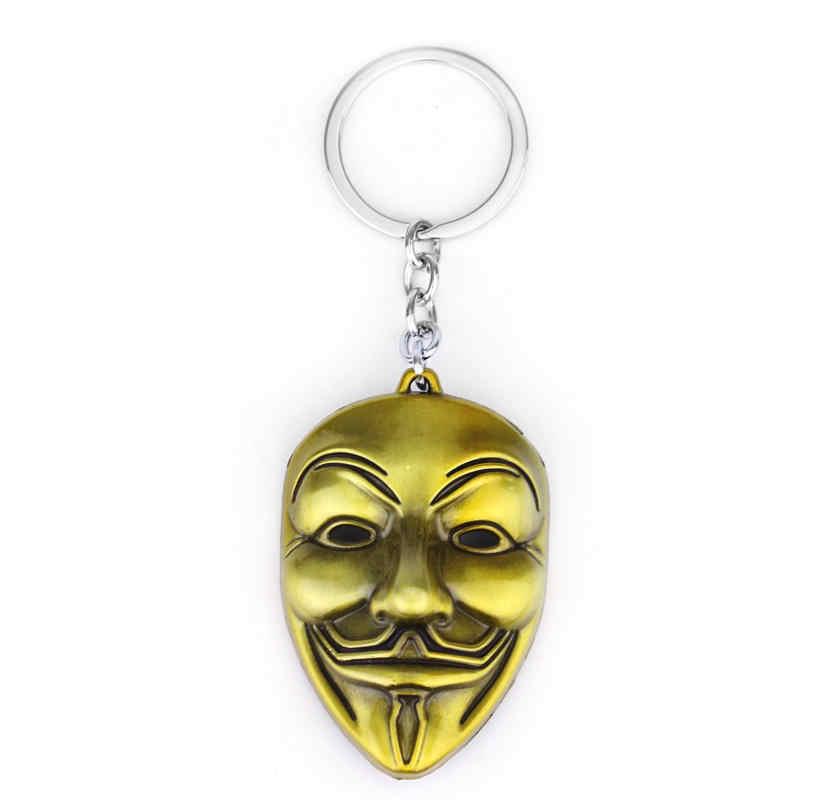 Dongsheng New Movie V For Vendetta keychain Hip-Hop Punk Trang Sức Phụ Kiện Key Holder Mặt Nạ Kim Loại KeyRing Đối Với Man Nữ Gift-50