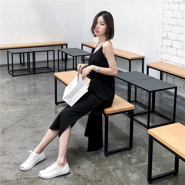 Sexy Women Maxi Dress Black Sling Dress Female Summer 2020 Sleeveless V-neck Vest Long Women Dresses 5
