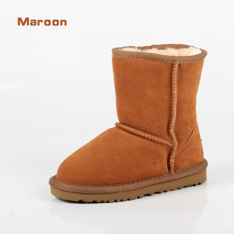 2017 Winter BRAND Children Snow Boots For Girls Boys UG Boots Genuine Leather Shoes Kids New Plush Boots With Fur Warm Boots babyfeet 2017 winter fashion warm plush high top genuine cow leather children ankle girls snow boots kids boys shoes sneakers