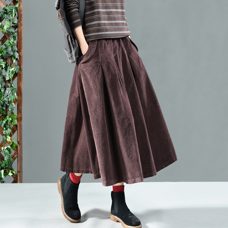 Image 3 - winter long skirts women  net color restoring ancient ways corduroy double ChaDou posed the a line skirt girl leisure female-in Skirts from Women's Clothing