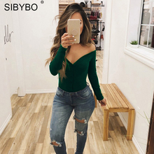 Sibybo Off Shoulder Strapless Skinny Women Bodysuits V-Neck Long Sleeve Button Sexy Romper Women Autumn Winter Bodysuit Jumpsuit