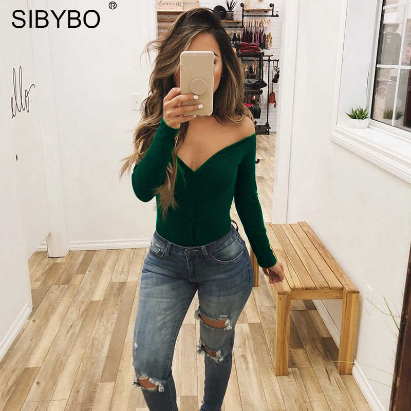 Sibybo sin hombros sin tirantes ajustado mujer Bodysuits cuello pico manga larga botón Sexy Romper mujer Otoño Invierno mono