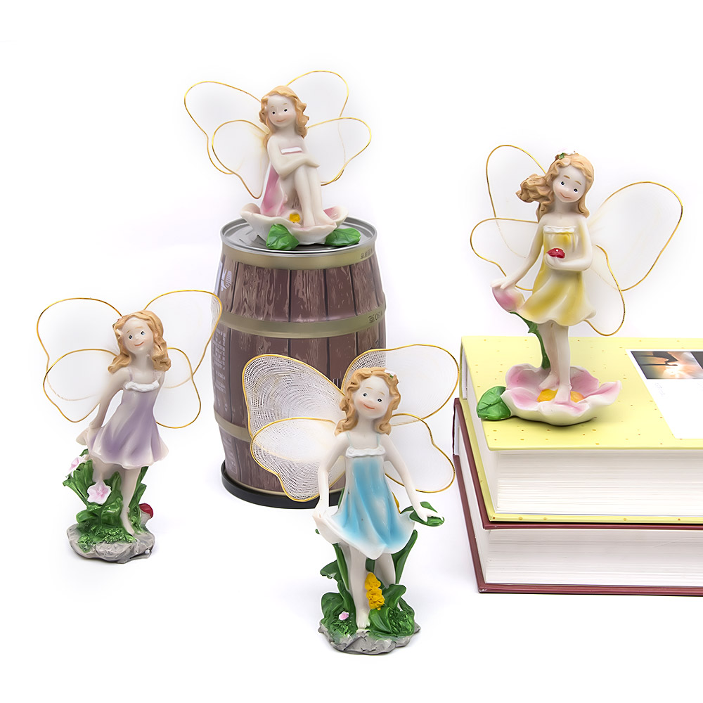 flower angels princess miniatures fairy garden decorations resin crafts micro landscape decor ornament bonsai terrarium figurine - Angel Decorations