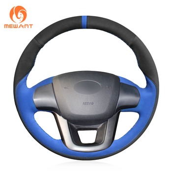 MEWANT Black Suede Blue Suede Leather Hand Sew Wrap Car Steering Wheel Cover for Kia K2 Rio 2011  2012 2013 2014 2015 2016