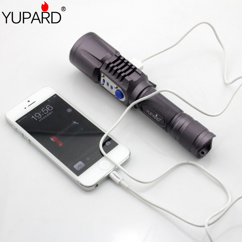 YUPARD mobile power bank Brightness LED XM-L2 T6 LED 5mode Intelligent Flashlight USB charging Torch rechargeable 18650 battery xm l t6 led zoomable led flashlight torch 26650 18650 rechargeable battery usb charge mobile power bank tactical camping torch