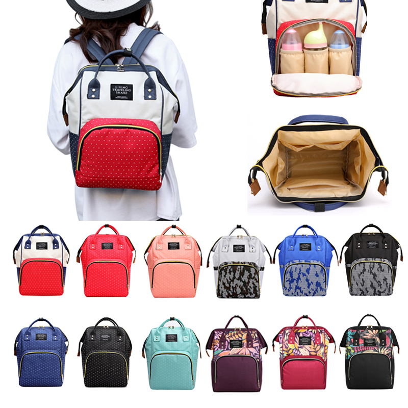 Dot Print Mummy Backpacks Newborn Baby Diaper Bag Fashion Large Capacity Maternity Travel Shopping Baby Care Nappy Organizer Bag