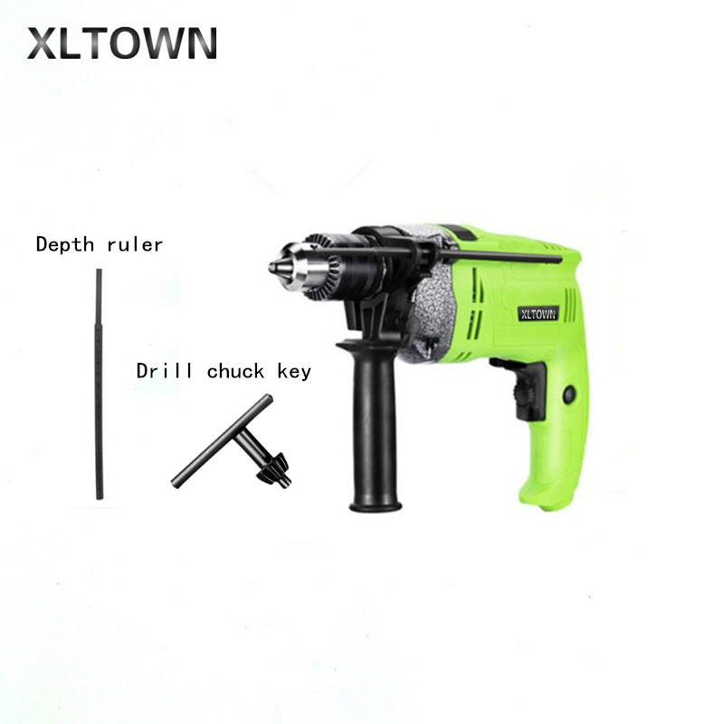 XLTOWN high-power AC drill with impact drill 220V multi-function power tool pistol drill hand drill electric turn small hammer dongcheng 220v 1010w electric impact drill darbeli matkap power drill stirring drilling 360 degree rotation power tools