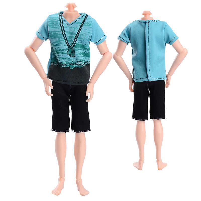 Rosana mody krótkim rękawem + spodnie na co dzień nosić dla chłopaka Barbie Ken ubrania dla lalek lalki spodnie garnitury koszule akcesoria