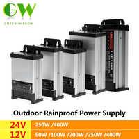 LED al aire libre impermeable de la fuente de alimentación de DC12V 60W 100W 200W DC24V 250W 400W controlador de LED impermeable adaptador transformadores para iluminación