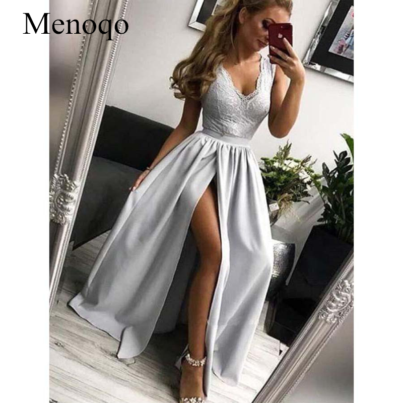 V Neck Floor Length   Prom     Dresses   A Line V Back Sleeveless Lace Satin Split Evening Formal Party   Dress   Vestido De Fiesta