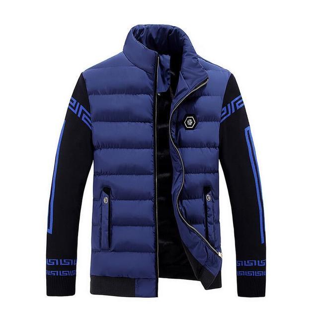 2016 Новый Бренд Лоскутное Темно-Синий мужская Пуховики Мода белая Утка Вниз Проложенный Пальто Теплое Вниз Парки Зимний Верхняя Одежда мужчины