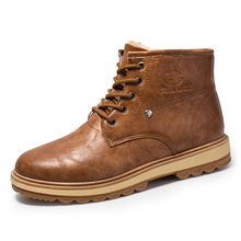 цены 2018 Winter Solid Color Men High-Top Ankle Boots Leather Casual Lace Up Plus Velvet Shoes Males Casual Simple Martin Boots Lx5
