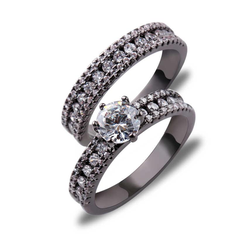 แหวนสีแดงชุดใหม่แฟชั่นงานแต่งงานสีแดง Zircon แหวนผู้ชายสีดำทองเครื่องประดับของขวัญ Bijoux อุปกรณ์เสริม