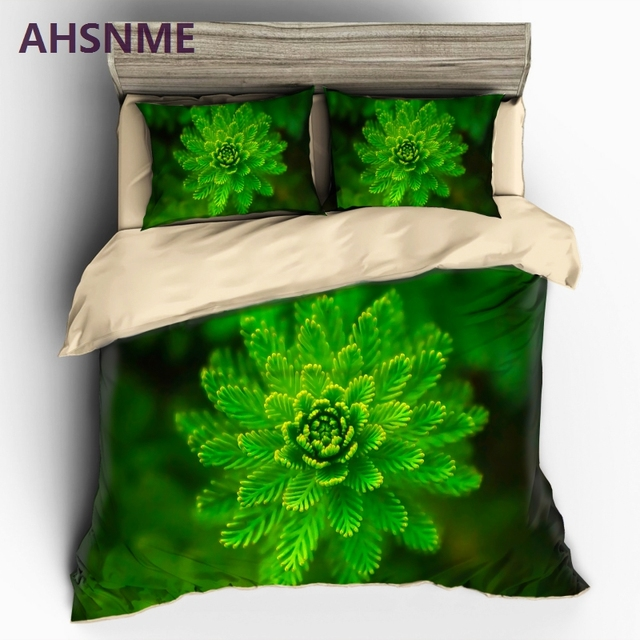 AHSNME Green Cedar Pattern Bedding set Green Quilt Cover High-definition Print Home Textiles Multi-Country Size Adaptation US/AU
