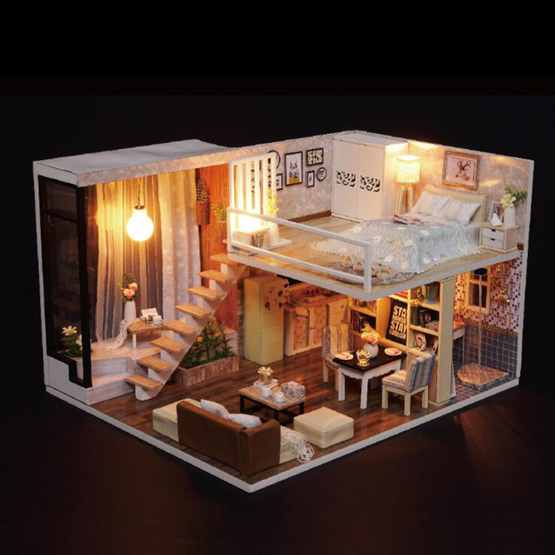 DIY Doll House Toy Wooden Miniatura Doll Houses Miniature Dollhouse toys With Furniture LED Lights Birthday Gifts