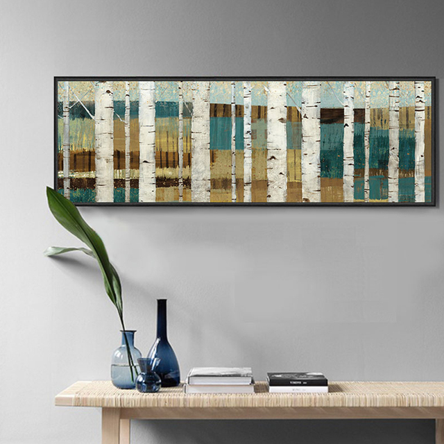 Abstract Scenery Painting Blue And White Birch Trees Painting Decorative  Canvas Art Prints Home Office Living