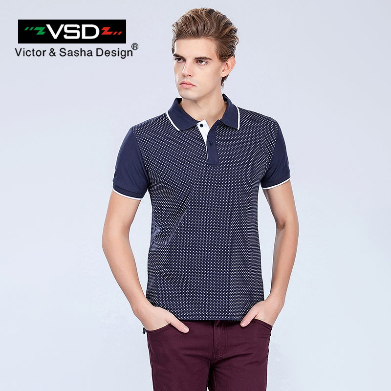 VSD 2017 Slim Polka Dog   Polo   Shirts Short Sleeve Men Contrast Color Brand Clothing Business & Casual Printed   Polo   Male 3XL White