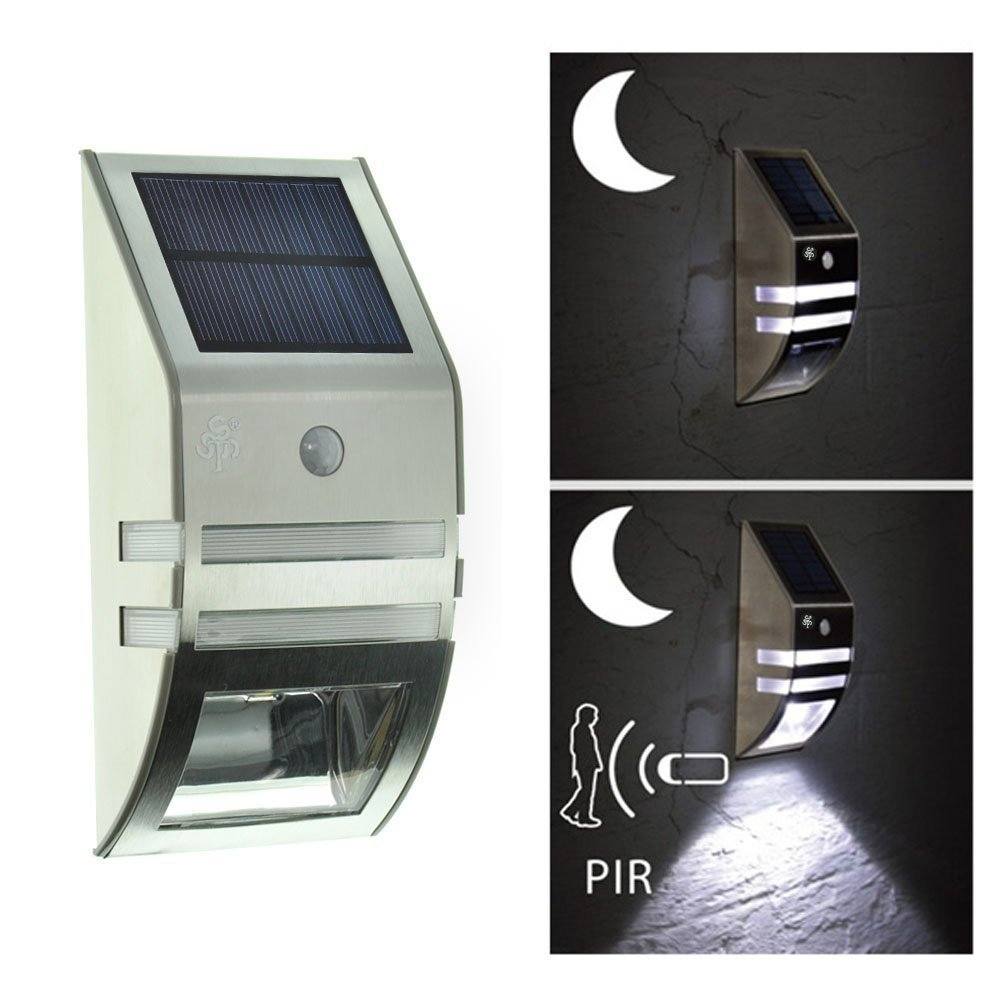 outdoor waterproof stainless steel 2leds motion PIR sensor solar wall white led street lamp for garden yard pathway deck.
