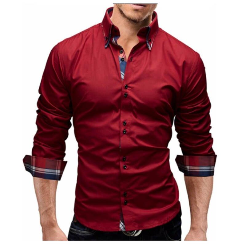 Для мужчин 2018 Весенние Новые брендовые Бизнес Для мужчин Slim Fit платье рубашка мужской одежда с длинным рукавом Повседневная рубашка Camisa masculina Размеры M-3XL