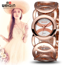 WEIQIN Marca Magia reloj Completa de acero inoxidable de Lujo de Oro Rosa mujer Señora OL Moda Comercial Relojes Relogio Feminino