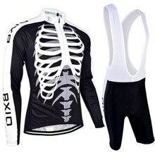 Bxio manga larga ciclismo conjuntos pro otoño ropa de bicicleta de montaña mtb negro cráneo de bicicletas maillot ciclismo jerseys top rate 042