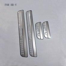 自動車部品フィットホンダ hrv HR V vezel 2014 2015 2016 ステンレススチールスカッフプレートプレートガードしきい値カバートリム 4 個