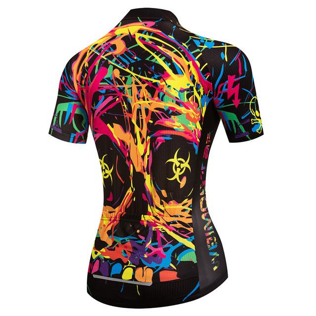 Women's Skull Summer Short Sleeve Cycling Shirt