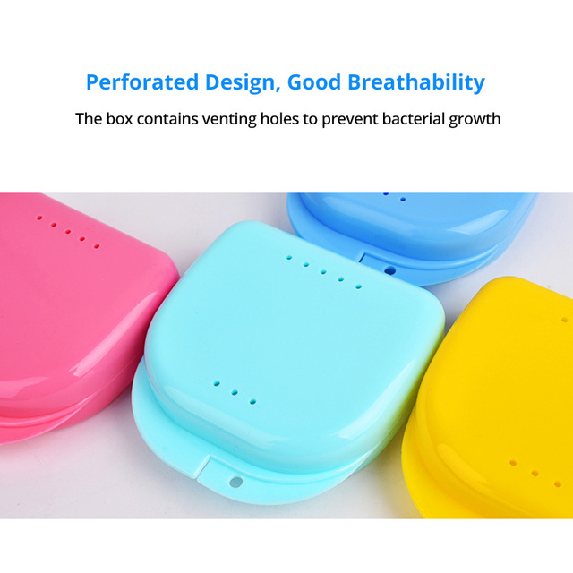 TONGWODE New Model Teeth Whitening Tray Case Mini Size False Teeth Mouthpiece Guard Container with Hole PP Plastic Box