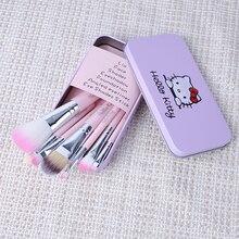 1set Hello Kitty Makeup brush Set Pink 7Pcs/set Mini Cosmetics kit de pinceis de maquiagem Make up brush Kit with Metal box