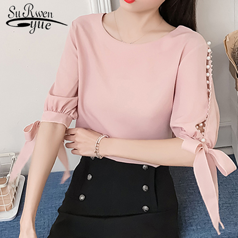 New 2018 Summer Pearl Sleeve Loose Women Blouses Shirt White Shirt Hollow Chiffon Shirt Small Fashion Cute Female Blusas 0359 40
