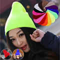 29 colores 2016 moda unisex color de la fluorescencia de punto gorros de hombres y de las mujeres de invierno cálido caps gorros GD hip-hop sombrero de la cabeza desgaste