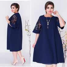 Plus Size Women Clothing 2019 Summer Dress Blue A-line Loose Women Dress Lace Casual Beach Dress 5XL 6XL Large Dress Vestidos