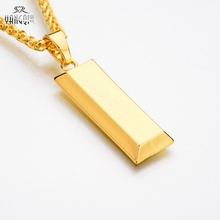 Gold Cube Bar Necklace&Pendant Hip Hop Jewelry Dance Charm Franco Men Necklace