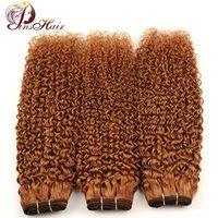 Pinshair Blonde 30 Jerry Krullend Haar Weave 3 Bundels Maleisische menselijk Haar Weave Extensions Kinky Krullend Haar Niet Remy Wirwar gratis