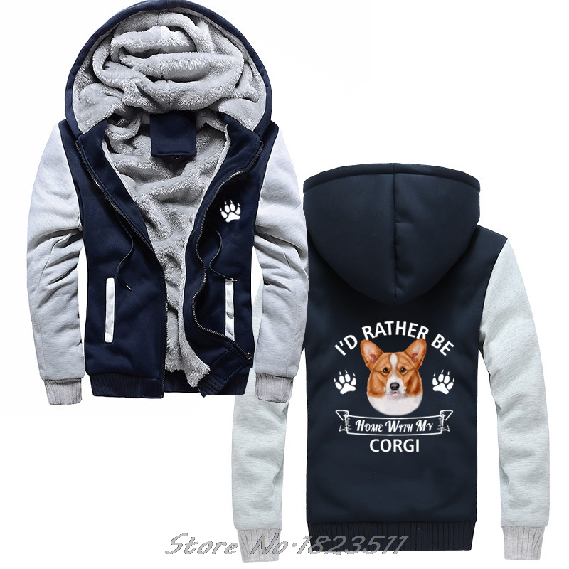 Men's Clothing Dog Jacket Casual Funny Sweatshirt Fashion Men Hoody Fleece Hoodies Corgi Hoodie Id Rather Be Home With My Corgi