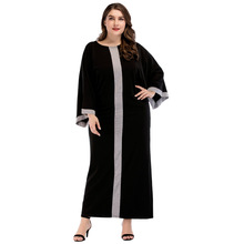 Hot Women Fashion Large Size Abaya Straddle Dress for Middle East Batman Sleeve Loose Gown Hijab  185243-1