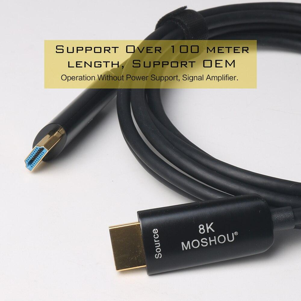 MOSHOU fibre optique HDMI 2.1 Câble Ultra-HD (UHD) 8 K Câble 120 GHz 48Gbs avec Audio et Ethernet HDMI Cordon HDR 4:4:4 Sans Perte Cabl - 3
