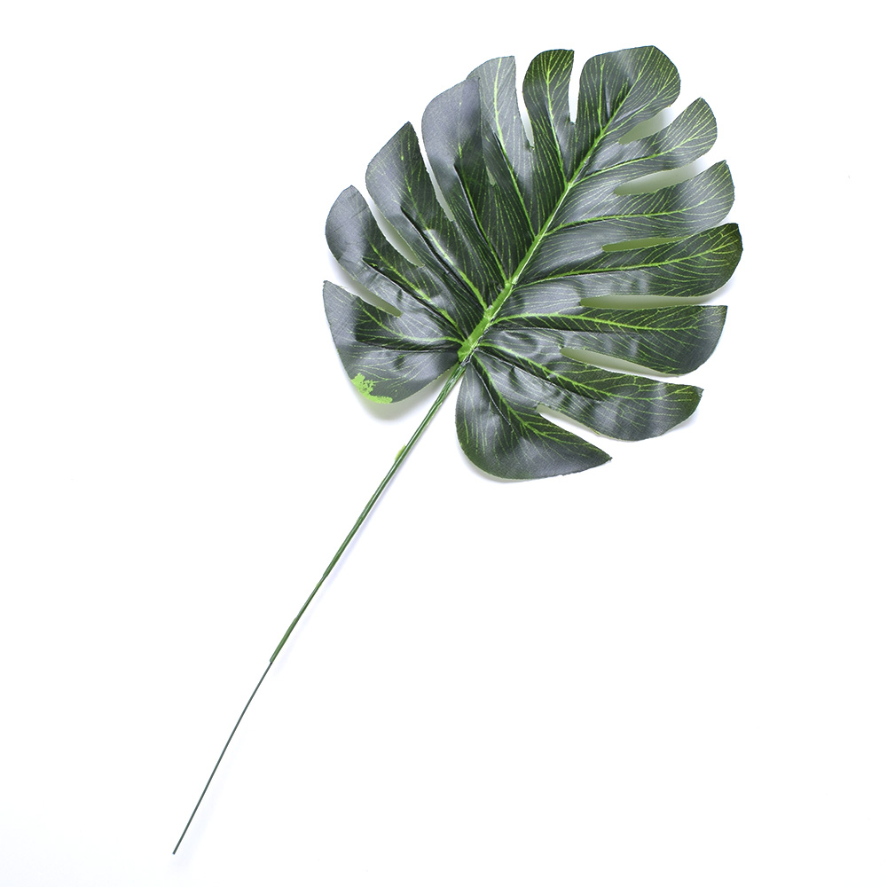 5Pcs Large Artificial Fake Monstera Palm tree Leaves Green Plastic Leaf Wedding DIY Decoration Cheap Flowers Leaves Plant